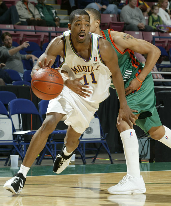Skip 2 My Lou averaged 15.8 points and 9.7 assists over six games with the  Revelers in 2002-03. He signed with the Los Angeles D-Fenders during the 2011-12 season but ultimately appeared in only four games.
