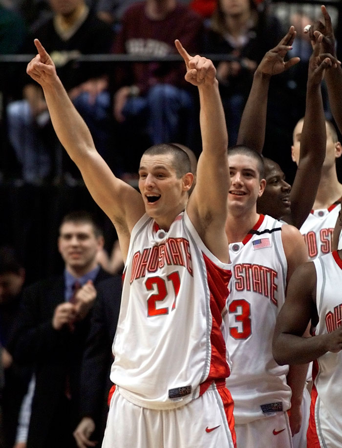 Boban Savovic celebrates winning the championship game of the 2002 Big Ten Tournament. Ohio State defeated Iowa 81-64 and Savovic was named tournament MVP.