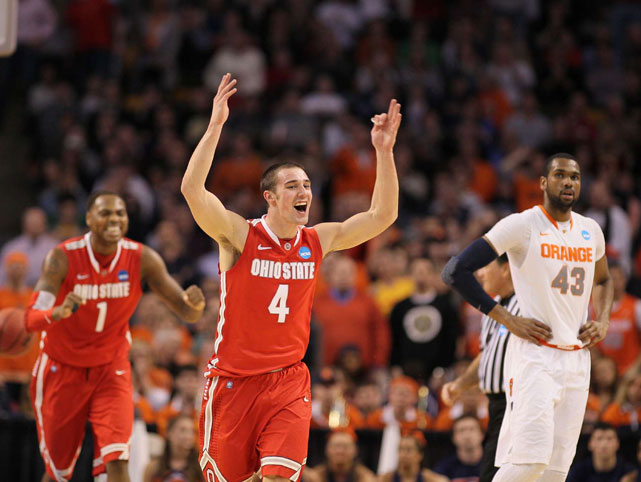 Aaron Craft celebrates after Ohio State defeated Syracuse to advance to the Fianl Four. The Buckeyes will face Kansas on Saturday.