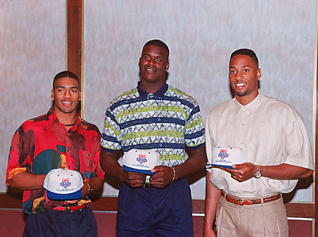 Jackson poses with LSU's Shaquille O'Neal and Georgetown center Alonzo Mourning. Jackson would be chosen fourth (behind O'Neal, Mourning and Christian Laettner) by the Mavericks in the NBA draft.