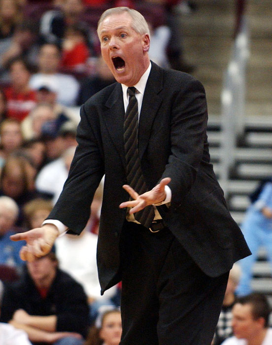 Buckeyes coach Jim O'Brien reacts to an official's call during a 2003 game. against Sanford. He would eventually be fired after allegedly breaking NCAA violations that involved him providing financial assistance to a couple of players trying to attend the university.