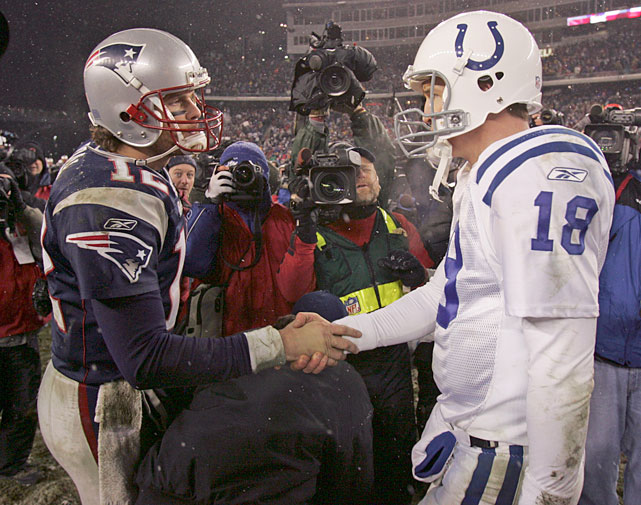 Manning and Patriots quarterback Tom Brady shake hands after New England's 20-3 victory over the Colts in the 2005 Divisional Playoffs. The two best quarterbacks of their generation, Manning and Brady met in the playoffs three times while Manning was a Colt.