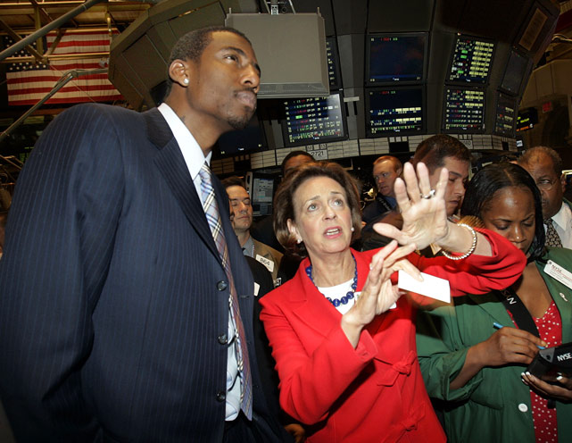 Stoudemire got educated about the New York Stock Exchange from Catherine R. Kinney, NYSE President and Co-Chief Operating Officer, after he rang the exchange opening bell in 2005.