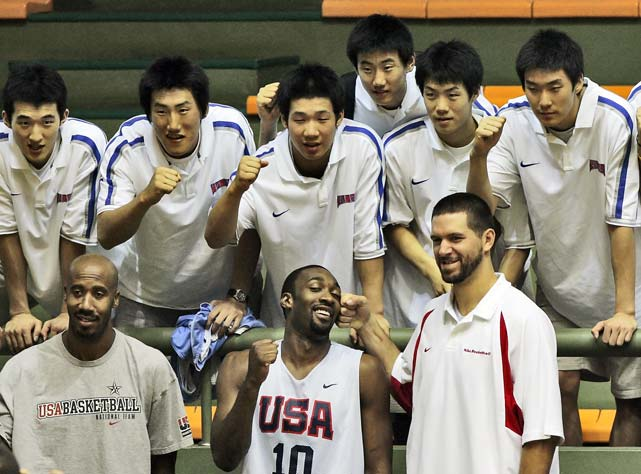 USA Basketball team members Bruce Bowen (left), Arenas (center) and Brad Miller joke as they pose for photos in South Korea while in town for exhibition games before the 2006 World Championships in Japan. Bowen's expression is priceless.