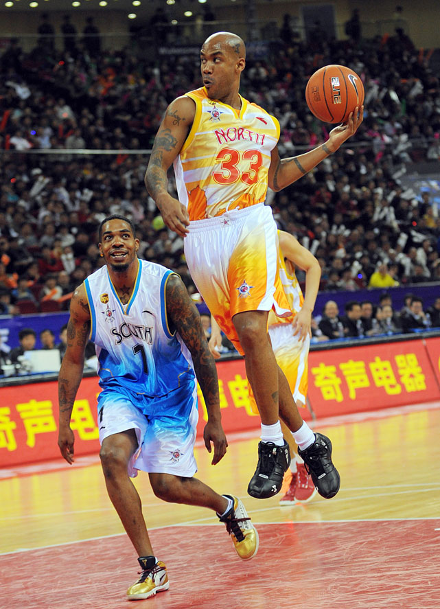 Marbury attempts a flashy pass during the CBA All-Star game.
