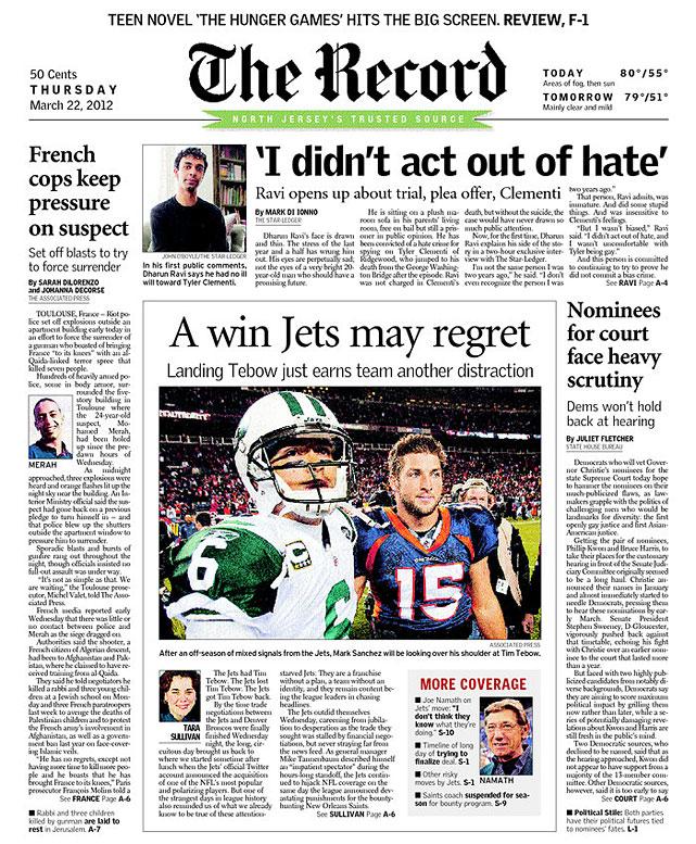 Tim Tebow Newspaper Headlines | SI.com
