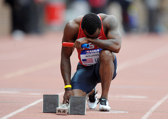Texas native Ivory Williams, who narrowly missed qualifying for the 2008 Games, collects his thoughts before the men's 4x100m relay. Williams, and a squad featuring Shawn Crawford, Trell Kimmons and Ryan Bailey finished second in the relay behind another American squad with a time of 38.47.