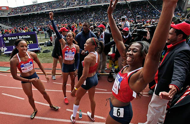 Members of Team USA Red (from left) Natasha Hastings, Sanya Richards-Ross, Allyson Felix and Francena McCorory celebrate after winning the women's 4x400 relay.