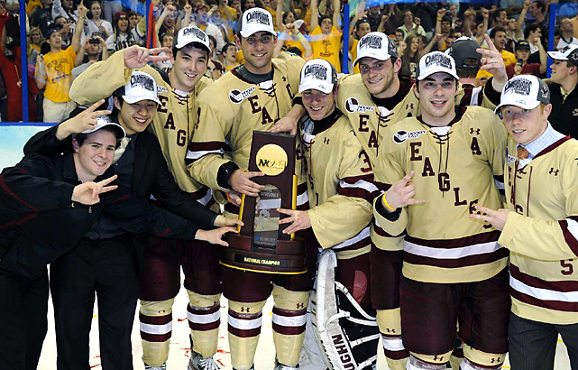 These Eagles are all smiles as they celebrate their third NCAA hockey title in five seasons.