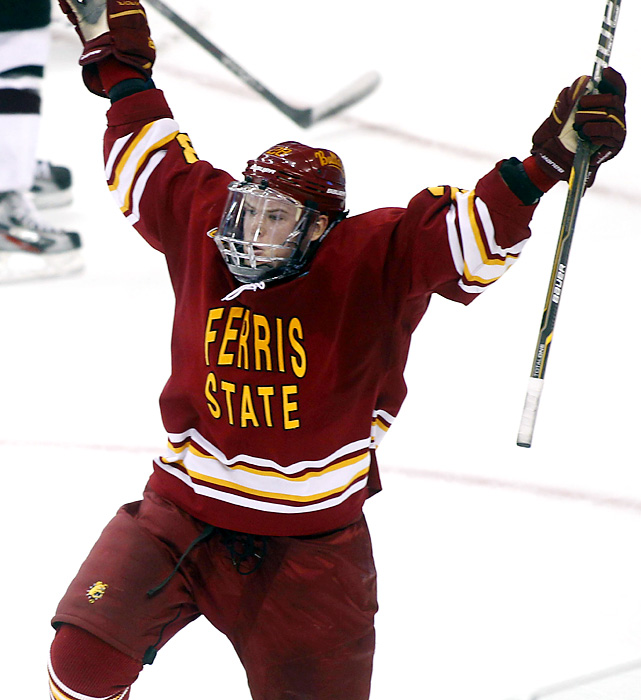 Kyle Bonie, a junior winger from Lindsay, Ontario, celebrates after his goal at 15:17 in the third period gave the Bulldogs the lead for good.