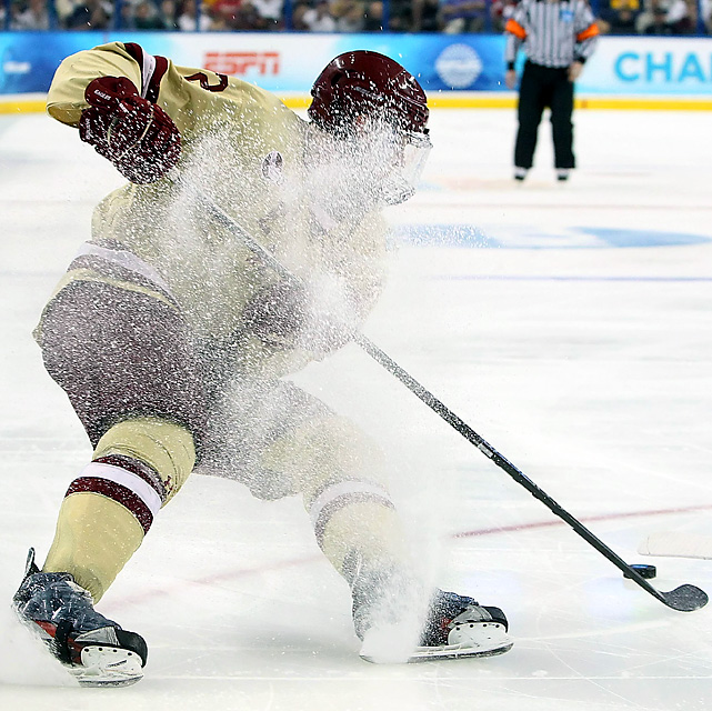 Boston College Eagles forward Kevin Hayes collected a power-play goal in the second period, although not on this play.