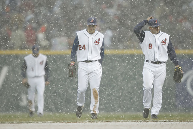 Grady Sizemore and Jason Michaels walk off the field after snow delayed the Indians-Mariners game on opening day..