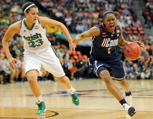 Tiffany Hayes (right) finished with 10 points and five steals in the loss, but also committed six turnovers.
