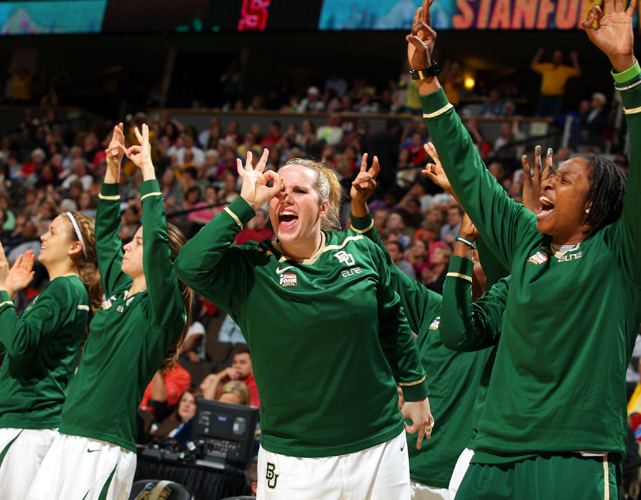 Baylor's bench celebrates a 3-pointer against Stanford. With a win Tuesday, the Lady Bears could become the first team in NCAA history to win 40 games.