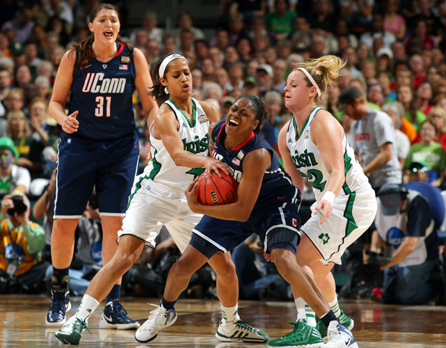 Skylar Diggins (left) and the Irish totaled 14 steals and forced 21 turnovers to beat the Huskies in the semifinals for the second conesuective year.