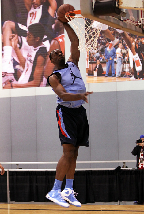 Muhammad rises for a dunk during a workout session. The Las Vegas product also won the slam dunk contest at the McDonald's All-American Game.