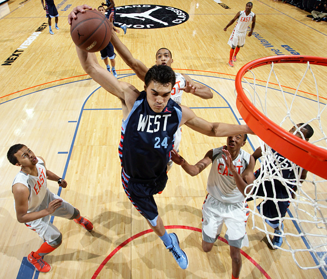 A Pitt-committed center out of Wellington, New Zealand, Steven Adams prepares to throw down a dunk in traffic. The 6-foot-10 standout also corralled nine rebounds for the East.