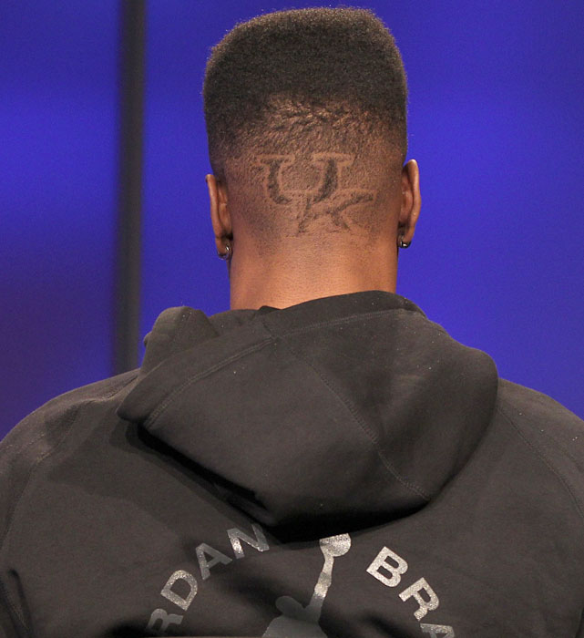 """...He went with the defending champs. """"I'll be taking my talents to play at the University of..."""" he said, before turning around to reveal a 'UK' logo shaved into the back of his hair."""