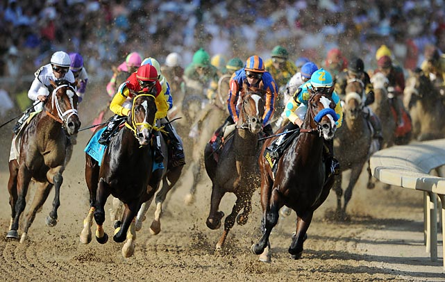 Bodemeister (right) looked to have the Kentucky Derby in control, but I'll Have Another (far left, purple) rallied and won.