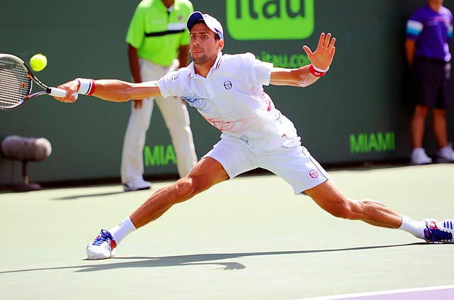 Novak Djokovic stretches to return Richard Gasquet's shot during the fourth round of the Sony Ericsson Open.