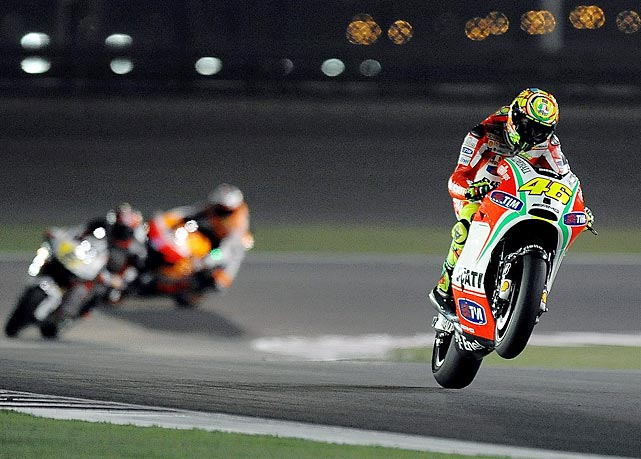 MotoGP rider Valentino Rossi rides during a practice session for the Grand Prix of Qatar at Al Losail International Circuit in Doha.