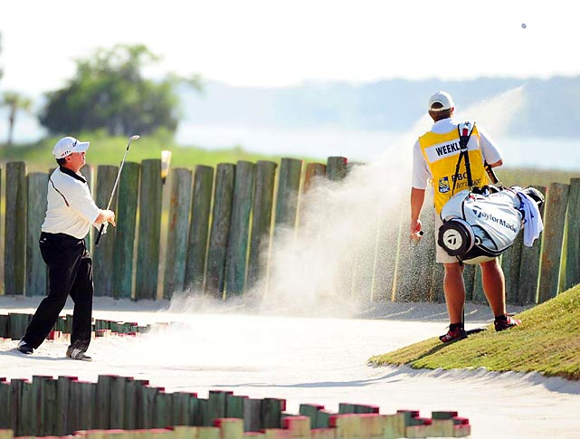 Boo Weekly hits out of a sand trap at the PGA Tour's RBC Heritage, held in South Carolina.