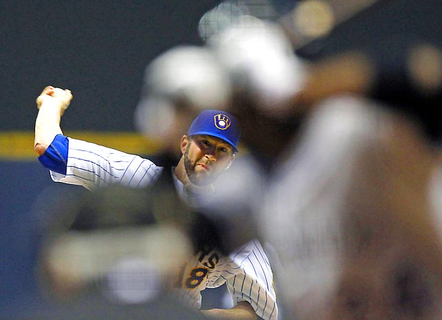 Brewers pitcher Shaun Marcum in the first inning against the Colorado Rockies at Miller Park.