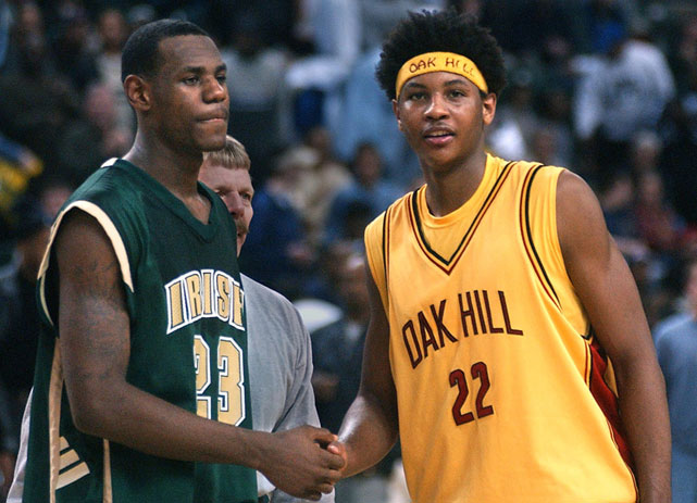 Since first meeting in high school and entering the NBA together in 2003, Carmelo Anthony and LeBron James have been among the league's top players. The duo are meeting in the playoffs for the first time as Anthony's Knicks battle James' Heat. As these two battle on the court, SI takes a look at their nearly decade-long rivalry.  In this photo, Anthony, a senior at Oak Hill Academy in Virginia, shakes hands with James, a junior at St. Vincent-St. Mary's in Ohio.