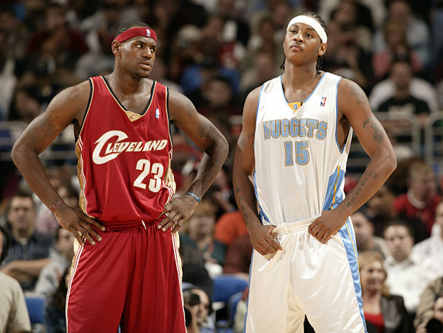 James gives Anthony the evil eye during their first ever NBA meeting against one another in Nov. 2003. The Nuggets won 93-89 as Anthony scored 14 points while James had seven.