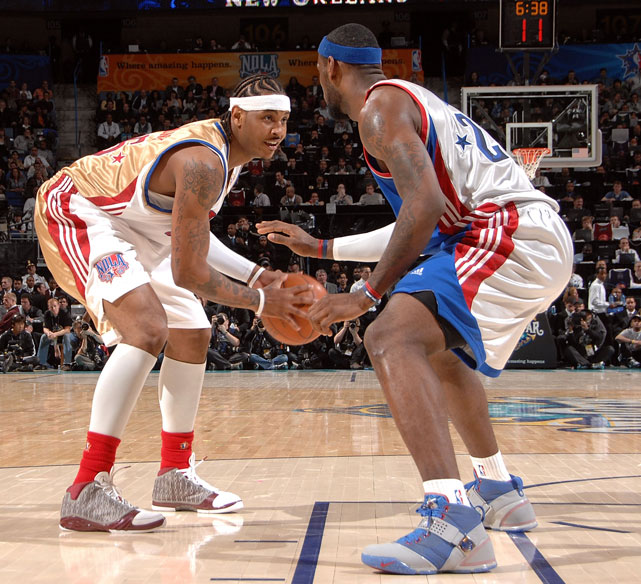 Anthony measures up James during the first half of the 2008 NBA All-Star game in New Orleans.