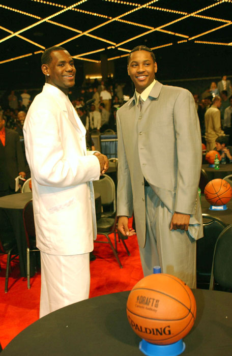 James and Anthony share a laugh prior to the 2003 NBA Draft. James would be taken first overall by the Cavs while Anthony would go third to the Nuggets.