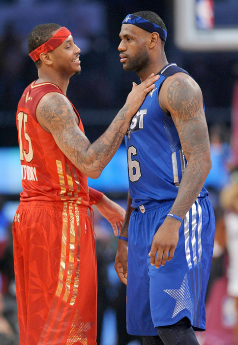 Anthony greets James before tip-off at the 2011 All-Star game in Los Angeles.