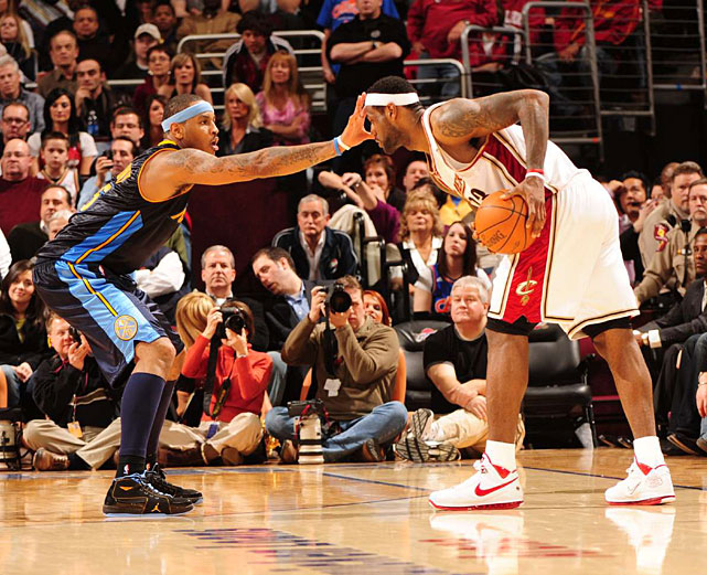 Anthony face guards James during a Feb. 2010 game in Cleveland.