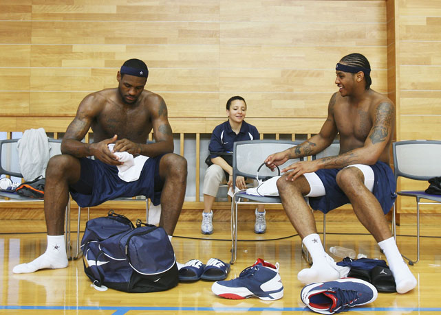 James and Anthony dress together before practice for the 2006 FIBA World Basketball Championship in Tokyo.