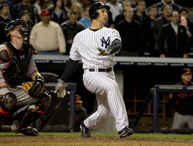The Yankee outfielder showed some late-game heroics during Game 3 of the 2012 ALDS against the Orioles.  Down one run in the ninth inning, manager Joe Girardi decided to use Ibanez to bat for Alex Rodriguez. Ibanez stepped up and took Jim Johnson deep in the ninth inning for a solo shot to send the game to extra innings. He then hit a leadoff homer in the 12th inning, giving the Yankees a 3-2 win over the Orioles. Ibanez became the first player in postseason history with a homer in the ninth inning and a homer in extra innings in the same game.