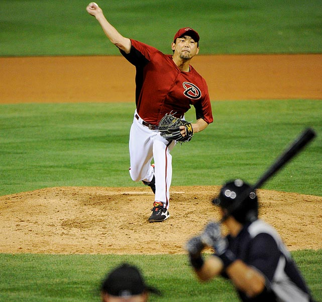 After spending the first three months of the season on the disabled list with a calf strain, Takashi Saito returned to Arizona in July. He pitched in 10 games before landing on the DL again on August 14th.  The injury-prone pitcher threw just 12 innings in relief for the D-Backs with a 6.75 ERA