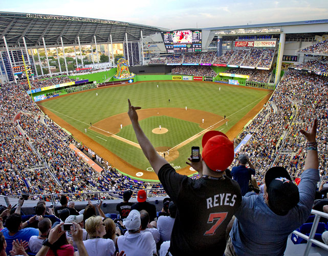 The new-look Miami Marlins opened the season in their new $515 million ballpark on April 4, 2012.  Cardinals starter Lohse held Miami hitless until the seventh inning and pitched into the eighth, helping St. Louis win 4-1.