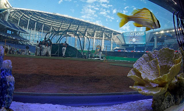 Two bulletproof 450-gallon aquariums serve as a home-plate backstop.
