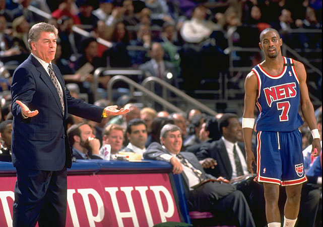 Chuck Daly, who coached the Nets from 1992-94, argues with a referee while Kenny Anderson looks on. Daly led the Nets to an 88-76 record in his two seasons in New Jersey.