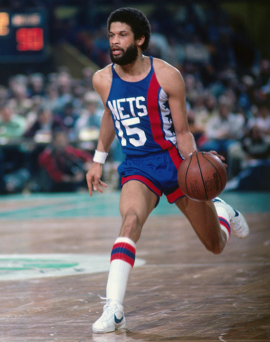 Eddie Jordan dribbles the ball up court during a 1979 game against the Celtics. Jordan later joined the team's coaching staff and was a part of the team that advanced to the 2002 and 2003 Eastern Conference championships.