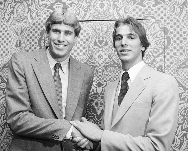 Duke's Mike Gminski (left) and North Carolina's Mike O'Koren shake hands after learning they were both drafted by the New Jersy Nets. Gminski went on to spend eight seasons with the team (1980-88) while O'Koren played six full seasons (1980-86) and a four-game stint with the team in the final year of his career (1988).