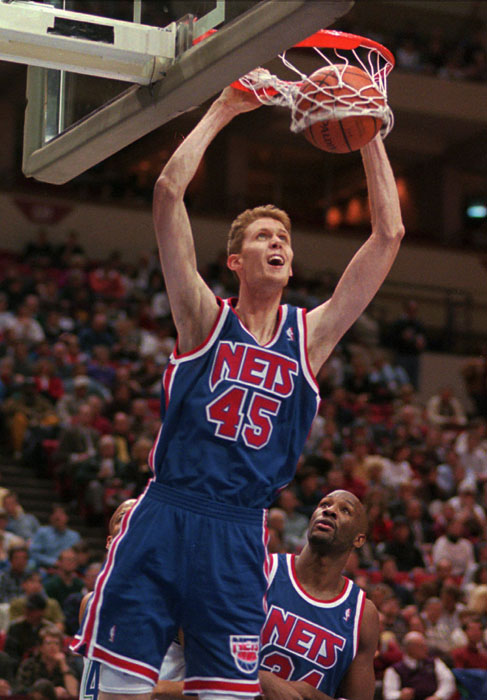 At 7-foot-6, Shawn Bradley is the tallest player to don a Nets uniform. The former BYU standout spent two seasons in New Jersey (1995-97).