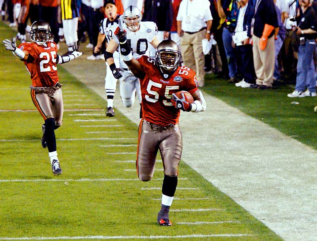 The Tampa Bay defense may not have been the dominant unit it was without Brooks' presence. He wound up being selected to the NFL's All-Decade Team for the 2000s, alongside Ray Lewis and Brian Urlacher at linebacker. <bold>His Credentials:</bold> Played all 14 seasons with Tampa Bay, 11-time Pro Bowler, nine-time All-Pro, Super Bowl XXXVII champion, 2002 Defensive Player of the Year, voted to NFL's 2000s All-Decade Team, 1,715 career tackles and 25 interceptions <bold>Others in Consideration: </bold> Darrell Green (1983, Redskins); Ezra Johnson (1977, Packers); Trevor Pryce (1997, Broncos)