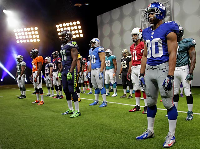 Uniforms for all 32 teams were on display, worn by players.  Commissioner Roger Goodell was on hand, along with New York Giants receiver Victor Cruz.