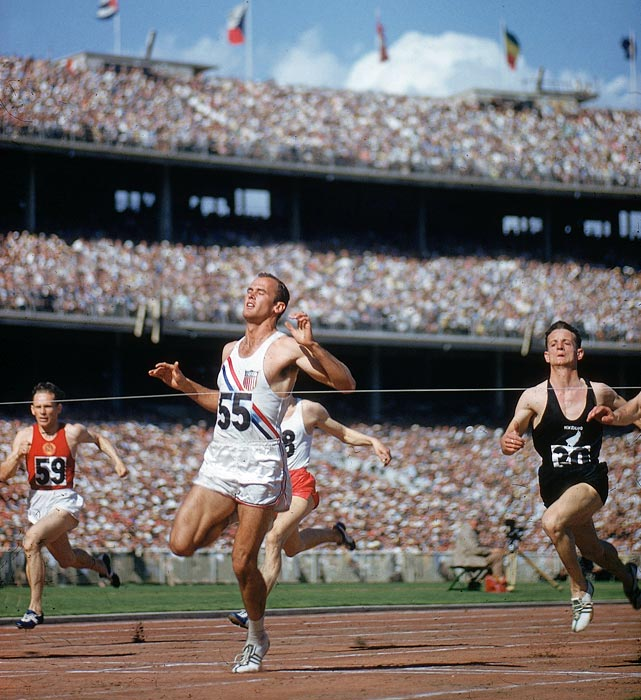 Bobby Morrow, with his relaxed and graceful stride, proved he was the best sprinter of the 1950's at the 1956 Melbourne Games. With his main competition (Dave Sime) sidelined due to injury, Morrow entered the Games as the favorite in both sprint events. And Morrow did not disappoint -- he won the 100 and 200 meters (tying the world record), and held off the Soviets while anchoring the U.S.'s gold medal-winning 4x100 relay.