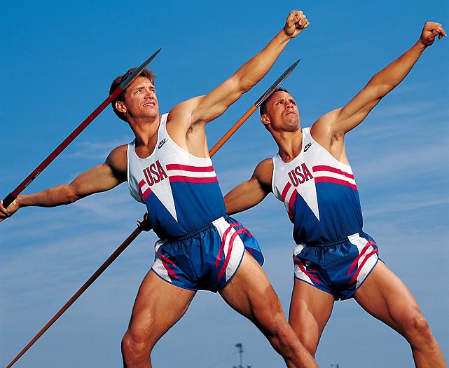 "Prior to the 1992 Games in Barcelona, Reebok launched a campaign featuring two decathletes (Dan O'Brien, Dave Johnson) they believed would battle for the title of ""World's Greatest Athlete."" But the campaign, which debuted during Super Bowl XXVI, ended prematurely when O'Brien (right) failed to qualify for the Games at the U.S. Olympic Trials. ""I was sad for Dan,"" recalls Johnson, who won bronze in Barcelona. ""It's something that happens to every decathlete at some point. I was mad and upset that it happened to Dan at the trials."""
