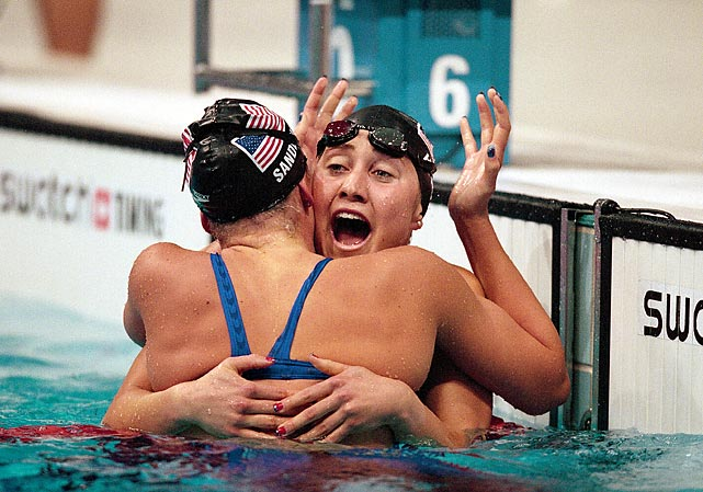 "Prior to the 2000 Games, 21-year-old Misty Hyman, plagued by health ailments and rule changes, was ready to quit swimming. ""It was a huge challenge,"" she said of the ruling that outlawed her unique racing style. ""I had developed a technique for swimming that brought me to an elite level. I was not sure if I was an elite swimmer anymore."" In Athens, Hyman proved she was. Swimming in the 200-meter butterfly, she upset heavy favorite Susie O'Neill for the gold. ""I've played it over so many times in my head, but I never thought it would come true,"" an ecstatic Hyman said after the race."