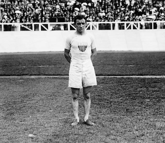 Hayes is best remembered for his controversial victory in the marathon at the 1908 Games in London. Entering the final stretch of the 26-mile, 385-yard contest -- the first time the marathon was ever run at its now official distance -- Hayes trailed Italian Dorando Pietri. But the race had taken its toll on Pietri, who was staggering in the final few yards. Pietri fell five times in the final 600 yards, and each time was helped to his feet by officials. Though Pietri crossed the finish line first and Hayes second, officials later stripped Pietri of the title by virtue of the assistance he received and named Hayes the winner. Hayes is still one of only three male American athletes to win the Olympic marathon.