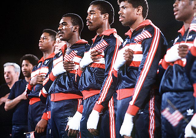 The U.S. fielded one of the strongest boxing teams in history at the 1984 Olympics in Los Angeles, accruing a record 11 medals, nine of which were gold, with boxing powerhouses Cuba and the Soviet Union boycotting the Games. Team USA seemed poised to capture 10 golds, but Evander Holyfield's controversial semifinal disqualification ended that hope.