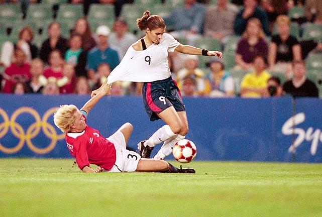 "A year after their memorable World Cup victory over China, the U.S. women's soccer team fell to Norway 3-2 in a gold medal match for the ages at the 2000 Games. Despite an early lead, Team USA surrendered three goals to Norway, including the game-winner in overtime. The loss marked just the second time the U.S. women had lost in Olympic or Women's World Cup play, with both losses coming against Norway. Despite the loss, star Brandi Chastain said the team wouldn't hang their heads ""We're very, very proud of what we accomplished,"" she said."